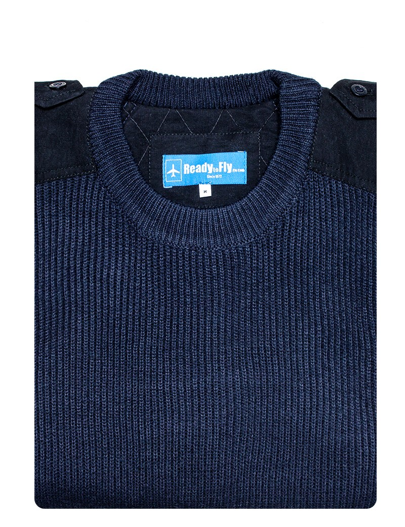Pull-over laine col rond manches longues