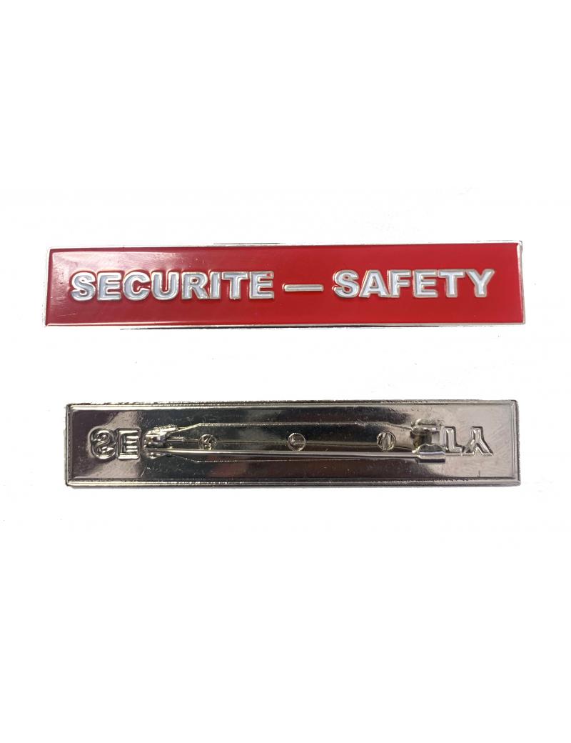 Plaquette Sécurité-Safety Rouge -  Broche